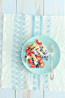 Fusilli with blueberries, strawberries and Greek yoghurt