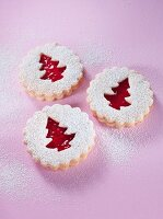 Shortbread biscuits with icing sugar