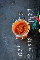 Homemade ketchup in a preserving jar