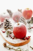 Christmas decorations with red apples, rose hips, pine cones and icing sugar