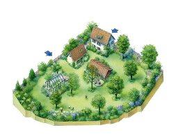 Perspektivische Zeichnung eines Gartens mit Gewächshaus und Wohnhaus