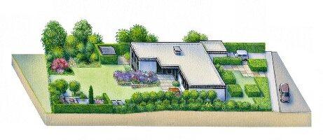 Perspektivische Zeichnung eines Gartens mit L-förmigem, eingeschossigem Flachdachhaus