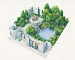 Axonometrischer Plan einer Garten