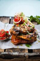 Oriental-style pork chops with sour pickled watermelon
