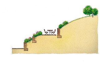 Illustration eines Gartens (Querschnitt)
