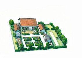 Perspektivischer Plan einer Gartenanlage mit Orangerie