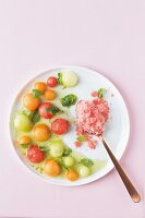 Watermelon balls with watermelon granita