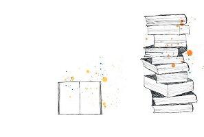 Layout mit einem Stapel Bücher und aufgeschlagenes Buch vor weißem Hintergrund
