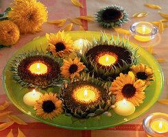 Sonnenblumenblüten als Teelichthalter : 5/5
