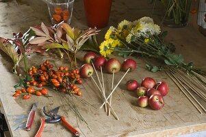 Zutatenstil für Herbststrauß