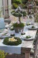 Oster-Tischdeko mit Buchs - Kränzen