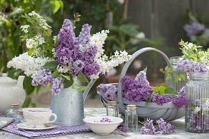 Duftstrauss aus Syringa (Flieder) in Zink-Kanne , Tee mit Fliederblueten