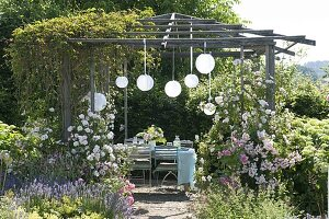 Pavillon mit Rosen und wildem Wein