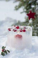 Windlicht aus Eis mit eingefrorenen Beeren