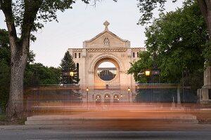 Stadtteil Saint-Boniface, Hauptfassade der Kathedrale St. Boniface, Winnipeg, Provinz Manitoba, Kanada
