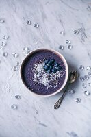 Healthy blueberry smoothie bowl
