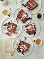 Chocolate ganache gateau slices