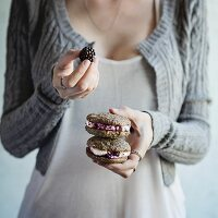 Homemade cookies with blackberries and cream cheese