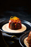 Five-spice toffee and rum plum puddings