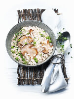 Risotto with porcini mushrooms and peas