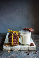 Chocoloate and peanut cookies with a glass of milk