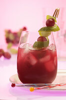 Grape Juice Spritz with lime zest
