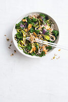 Soba noodle salad with kale and almonds