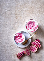 A beetroot latte with Chioggia Beet (top view)