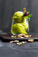 Mango and mint ice cream with dried rose buds