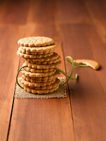 A stack of biscuits on a wooden table
