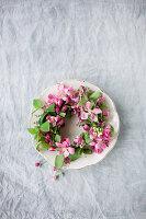 Kranz aus Blüten vom Zierapfel auf Teller