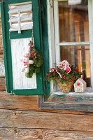 Weihnachtsdeko vorm Fenster mit Scheinbeere und Koniferen-Strauß