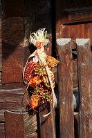 Hängender Strauß aus buntem Mais, Hagebutten und Lampionfrüchten