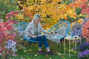 Moderne Sessel vor Eisenholzbaum in Herbstfärbung, Frau und Hund Zula
