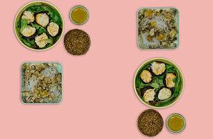 Gebackene Champignons mit Ziegenfrischkäse und Konjaknudeln mit Pilzsauce (Meal Prep)