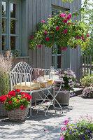 Terrasse mit Stammrose 'Heidi Klum', Geranien und Reitgras