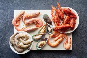 Seafoo-Stillleben: Flusskrebse, Shrimps und  Grünlippmuscheln