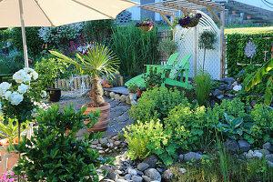 Kleiner Garten mit Frauenmantel, Hanfpalme im Terracottakübel und Liegen