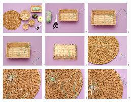 Platzset und Weidenkörbchen mit Wolle verzieren