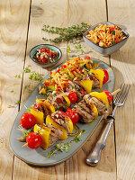 Souflaki - Gegrillte Schweinefleisch-Spieße mit Kritharaki