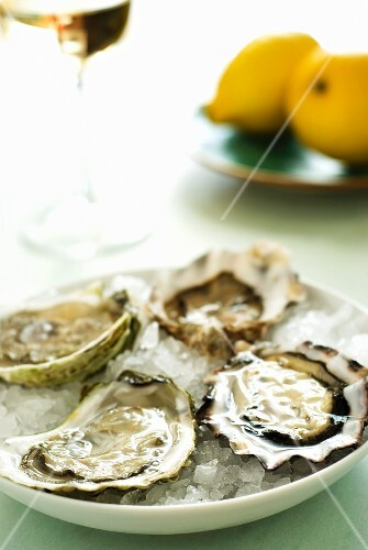 Fresh oysters, lemons and glass of white wine