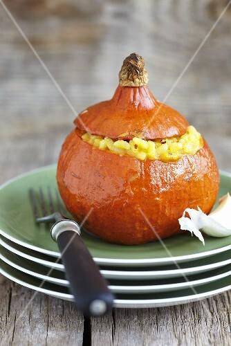 Pumpkin risotto in a hollowed out pumpkin