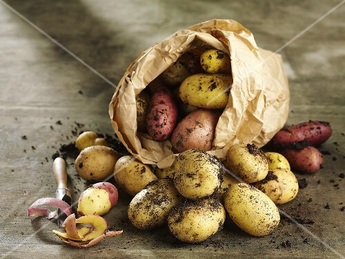 Various types of potatoes in a paper bag