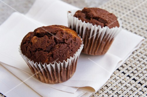 Two chocolate muffins