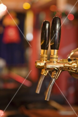 Beer taps in the bar