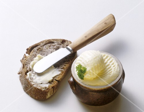Butter Pan; Coarse Rye Bread & Butter Knife