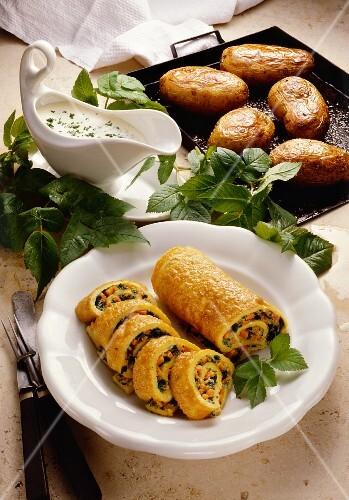 Pancake roll with ashweed filling