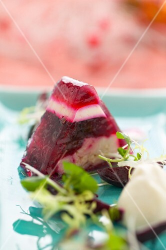 Carp in aspic with beetroot and horseradish mousse