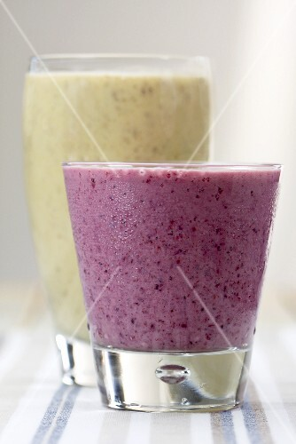Peanut butter and banana smoothie and a berry smoothie