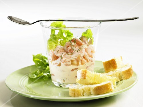 Prawn cocktail in a glass with white bread